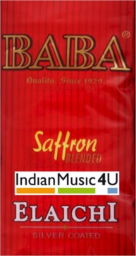 BABA Silver Coated Cardamom Elaichi Seeds With Saffron 3 Pouches Packets